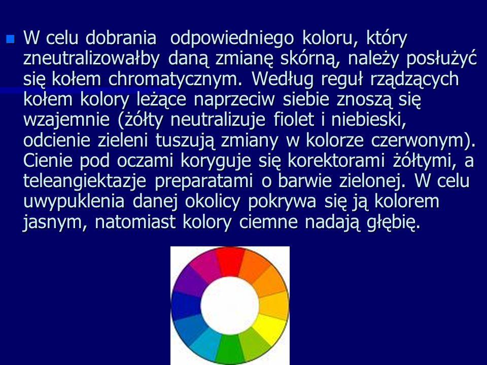 n W celu dobrania odpowiedniego koloru, który zneutralizowałby daną zmianę skórną, należy posłużyć się kołem chromatycznym.