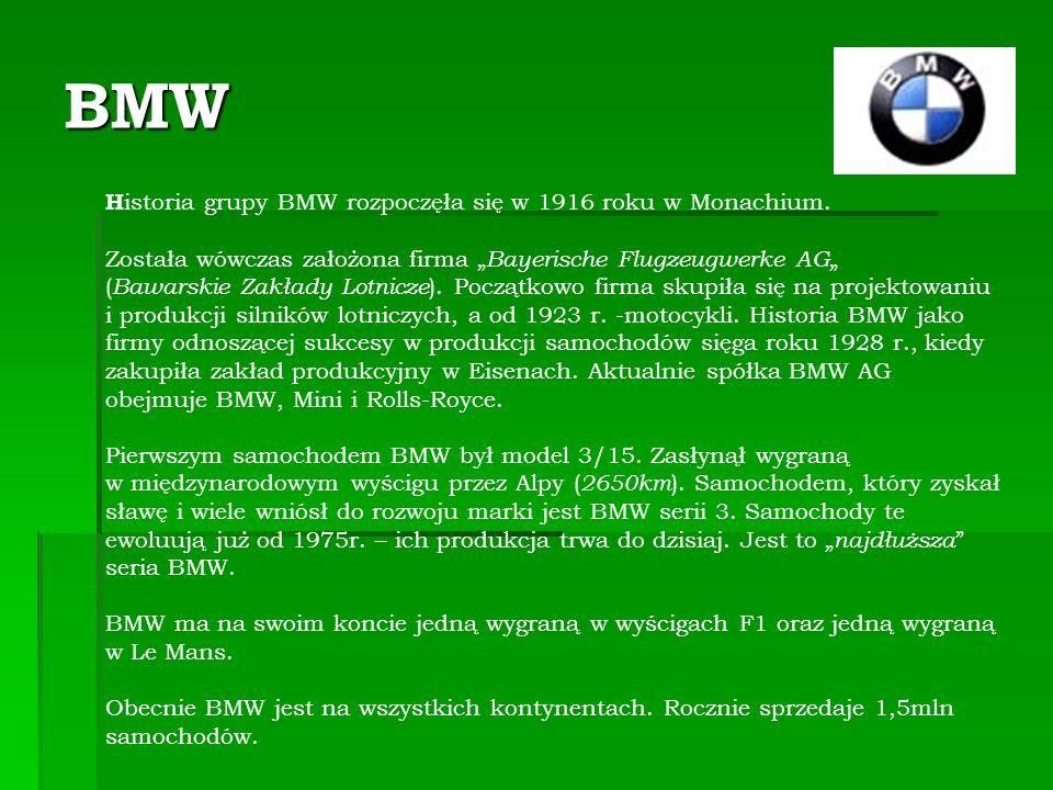BMW H istoria grupy BMW rozpoczęła się w 1916 roku w Monachium.