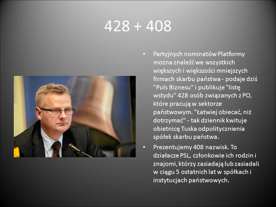 428 + 408 Partyjnych nominatów Platformy można znaleźć we wszystkich większych i większości mniejszych firmach skarbu państwa - podaje dziś