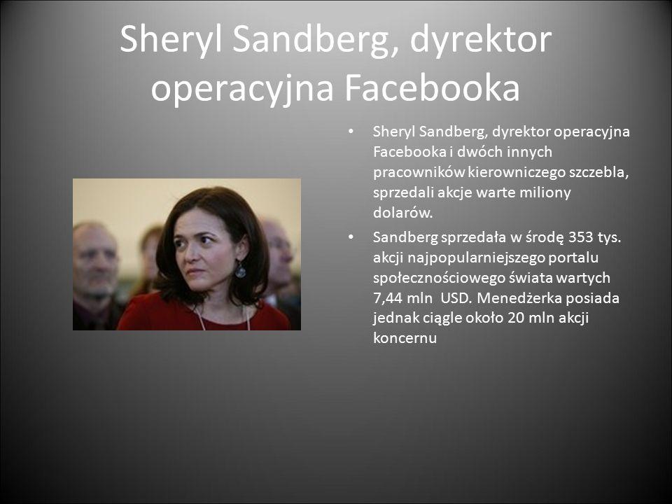 Sheryl Sandberg, dyrektor operacyjna Facebooka Sheryl Sandberg, dyrektor operacyjna Facebooka i dwóch innych pracowników kierowniczego szczebla, sprzedali akcje warte miliony dolarów.
