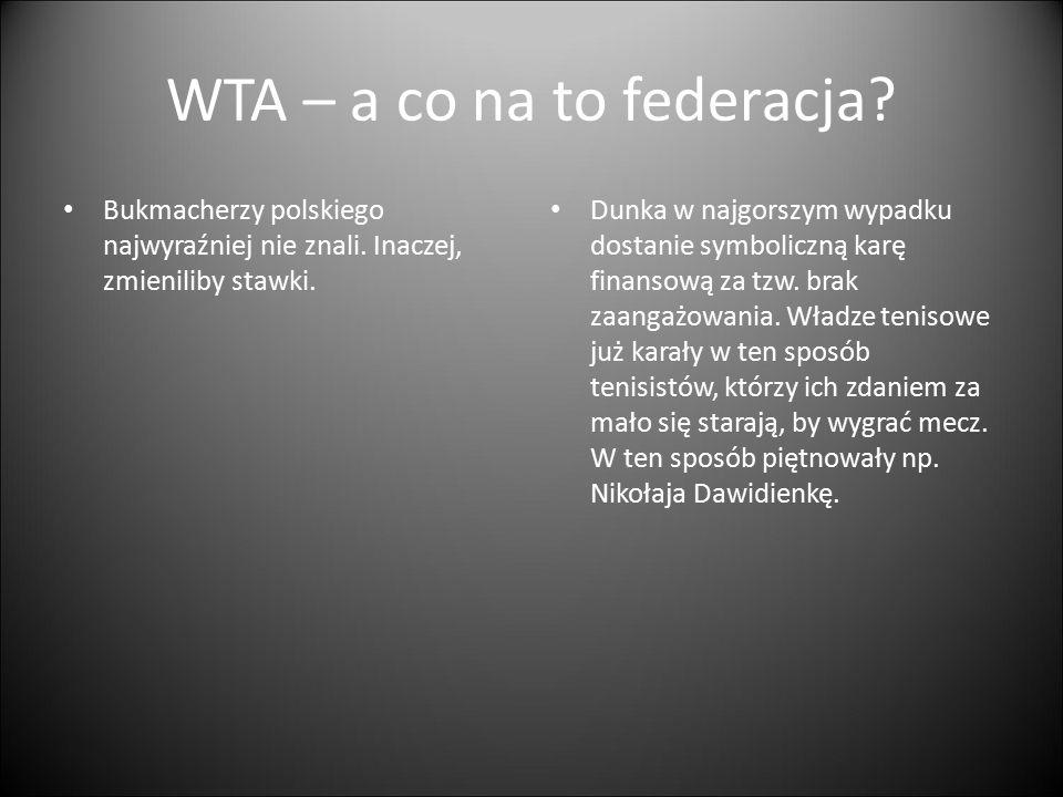 WTA – a co na to federacja? Bukmacherzy polskiego najwyraźniej nie znali. Inaczej, zmieniliby stawki. Dunka w najgorszym wypadku dostanie symboliczną