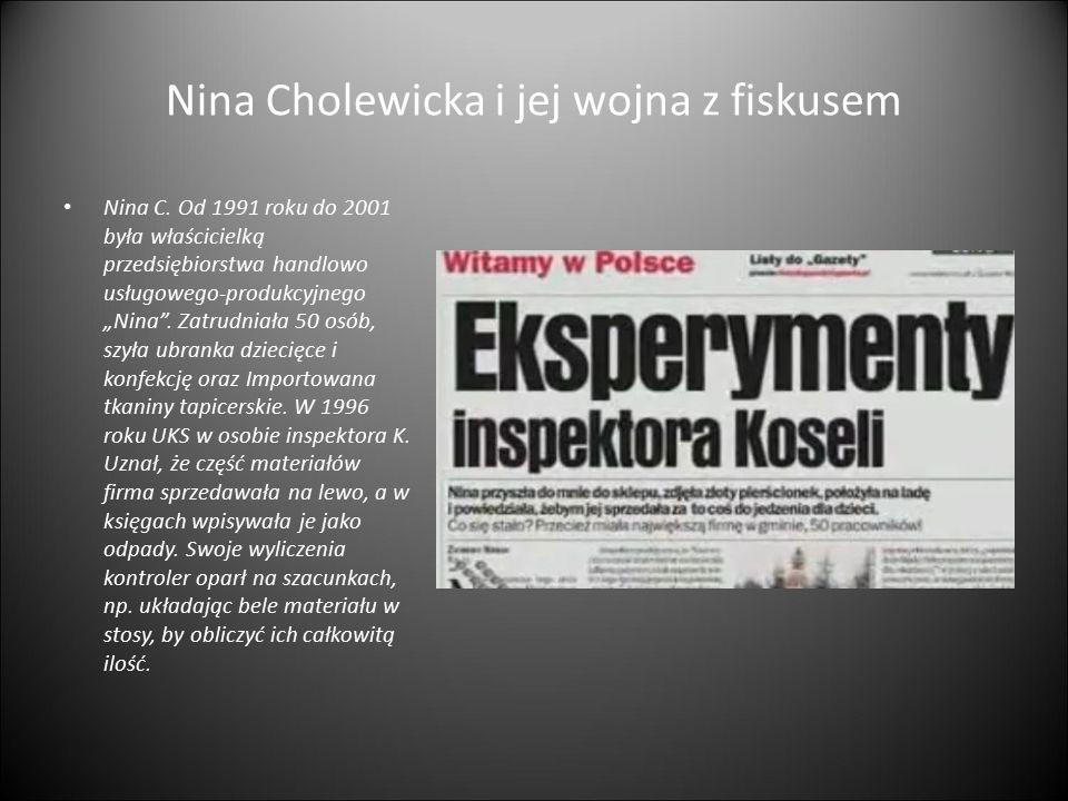 """Nina Cholewicka i jej wojna z fiskusem Nina C. Od 1991 roku do 2001 była właścicielką przedsiębiorstwa handlowo usługowego-produkcyjnego """"Nina"""". Zatru"""