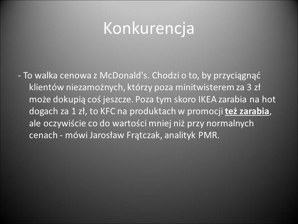 Konkurencja - To walka cenowa z McDonald's. Chodzi o to, by przyciągnąć klientów niezamożnych, którzy poza minitwisterem za 3 zł może dokupią coś jesz