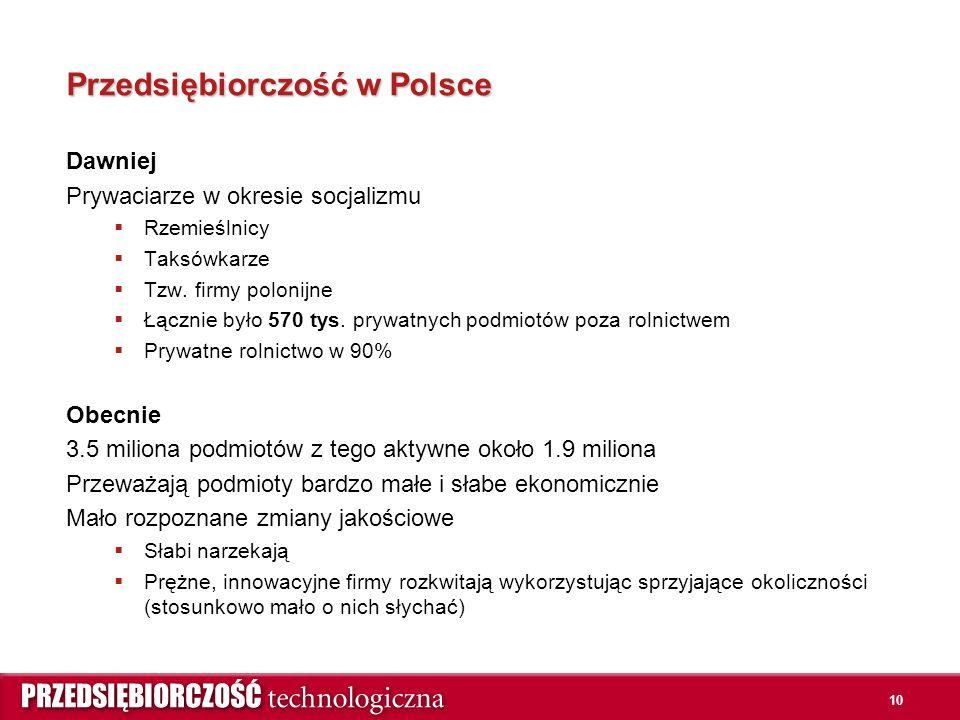 10 Przedsiębiorczość w Polsce Dawniej Prywaciarze w okresie socjalizmu  Rzemieślnicy  Taksówkarze  Tzw.