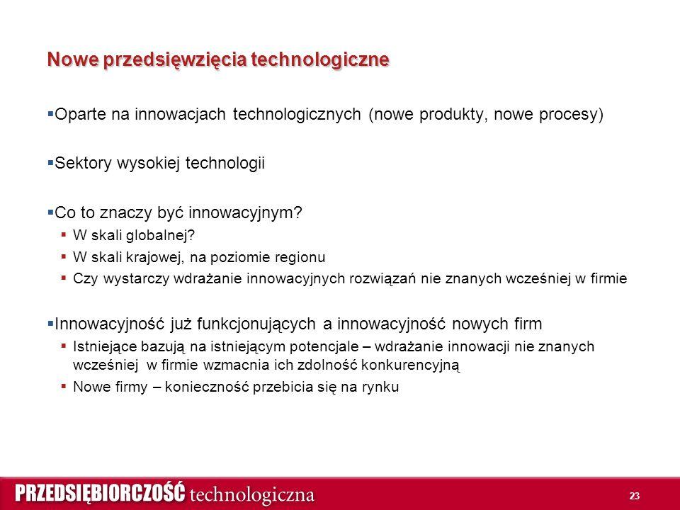 23 Nowe przedsięwzięcia technologiczne  Oparte na innowacjach technologicznych (nowe produkty, nowe procesy)  Sektory wysokiej technologii  Co to znaczy być innowacyjnym.