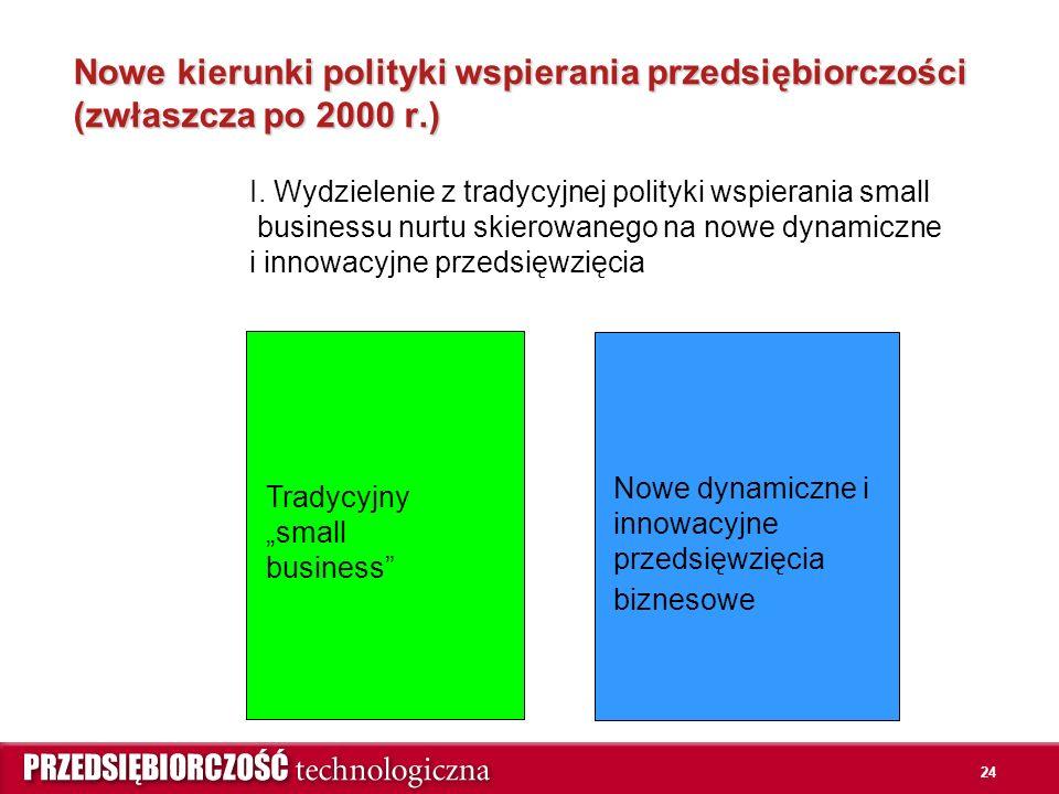 """24 Nowe kierunki polityki wspierania przedsiębiorczości (zwłaszcza po 2000 r.) Tradycyjny """"small business I."""