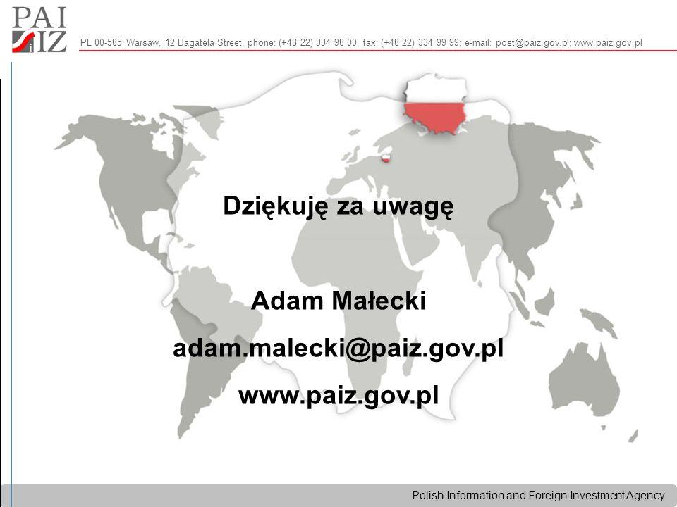 Polish Information and Foreign Investment Agency Dziękuję za uwagę Adam Małecki adam.malecki@paiz.gov.pl www.paiz.gov.pl PL 00-585 Warsaw, 12 Bagatela Street, phone: (+48 22) 334 98 00, fax: (+48 22) 334 99 99; e-mail: post@paiz.gov.pl; www.paiz.gov.pl