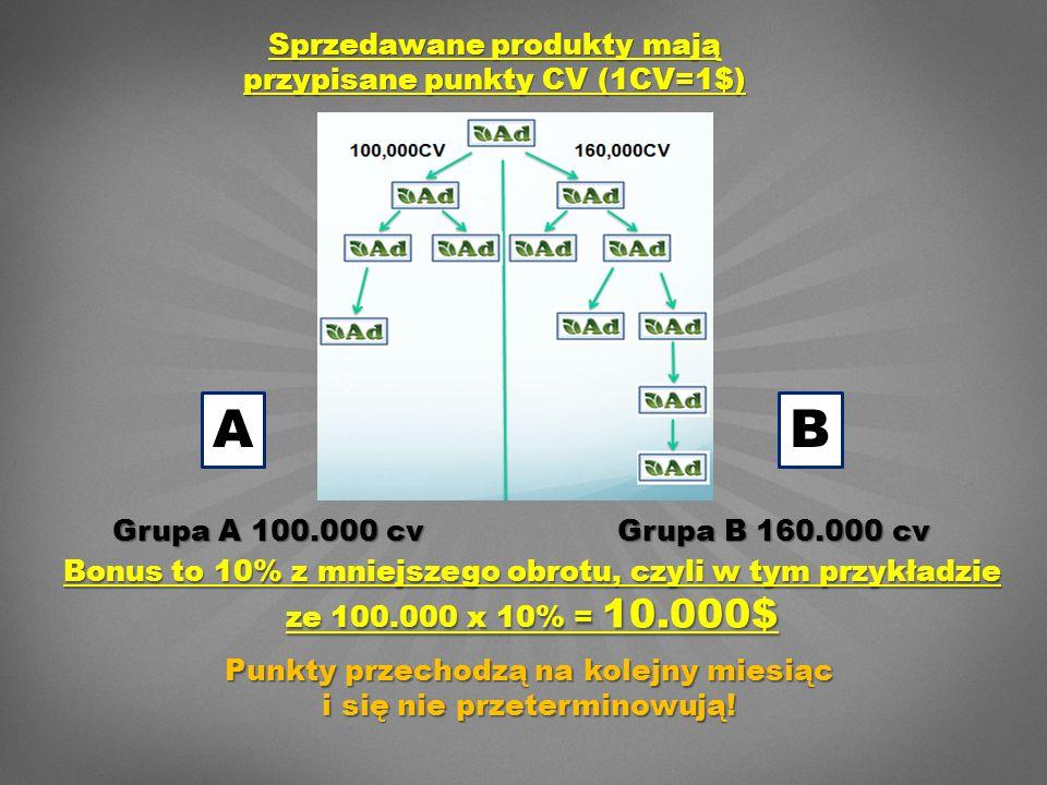 Grupa A 100.000 cv Grupa B 160.000 cv AB Sprzedawane produkty mają przypisane punkty CV (1CV=1$) Bonus to 10% z mniejszego obrotu, czyli w tym przykładzie ze 100.000 x 10% = 10.000$ Punkty przechodzą na kolejny miesiąc i się nie przeterminowują!