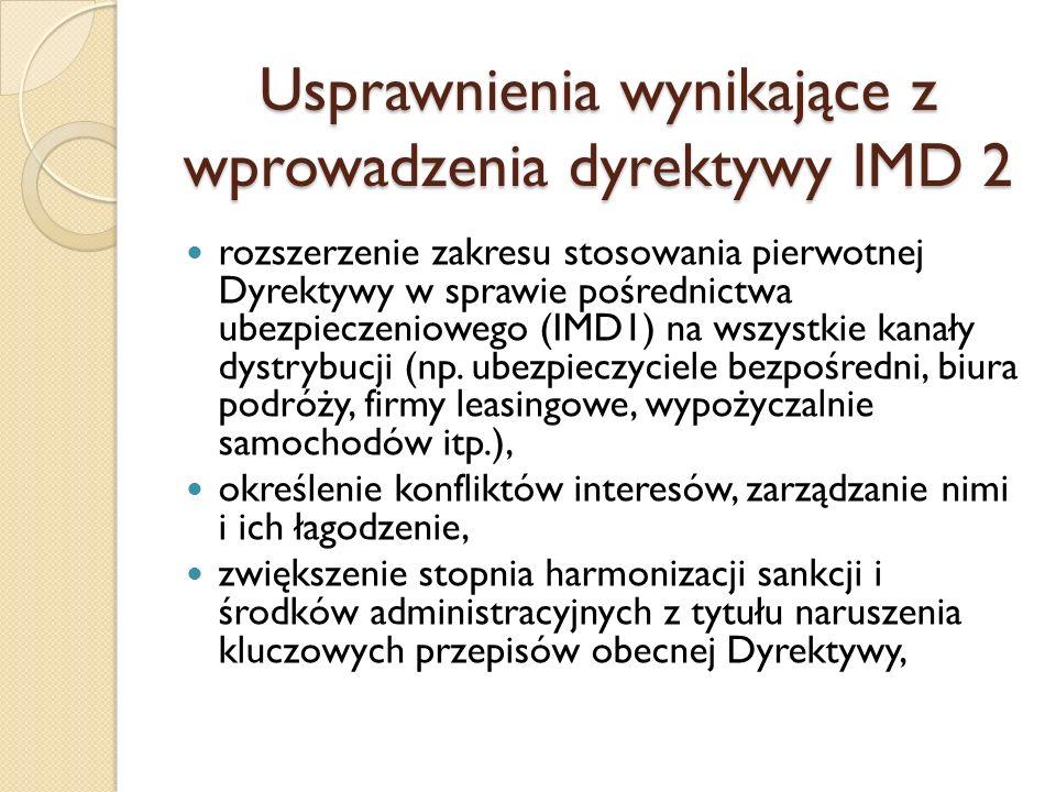 Usprawnienia wynikające z wprowadzenia dyrektywy IMD 2 rozszerzenie zakresu stosowania pierwotnej Dyrektywy w sprawie pośrednictwa ubezpieczeniowego (