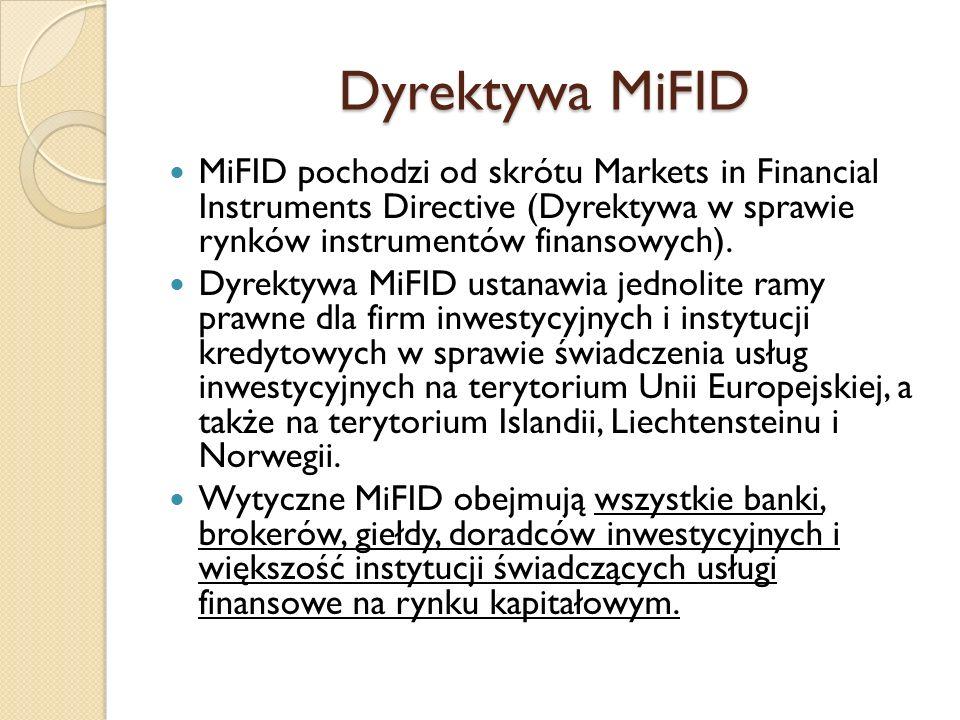 Dyrektywa MiFID MiFID pochodzi od skrótu Markets in Financial Instruments Directive (Dyrektywa w sprawie rynków instrumentów finansowych). Dyrektywa M
