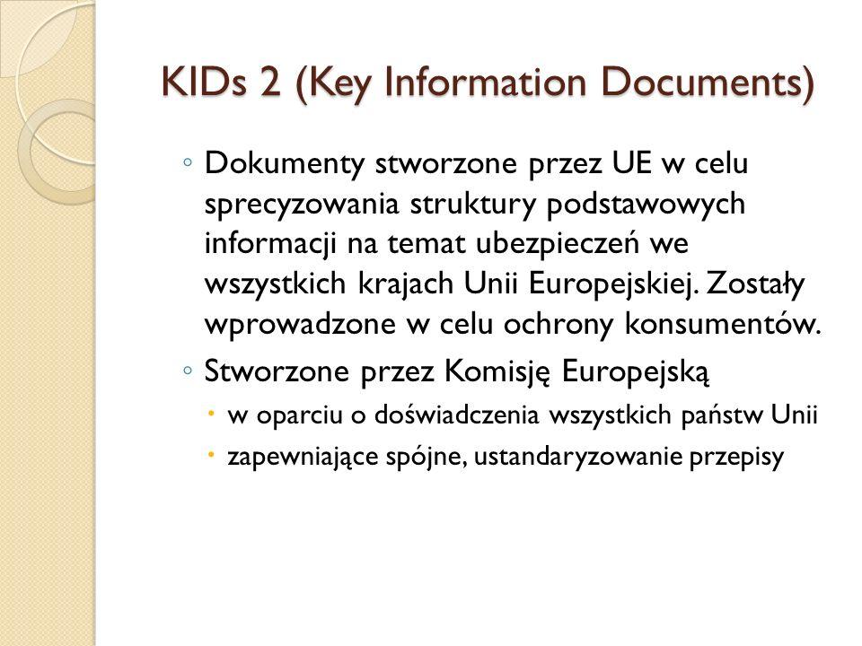 KIDs 2 (Key Information Documents) ◦ Dokumenty stworzone przez UE w celu sprecyzowania struktury podstawowych informacji na temat ubezpieczeń we wszys