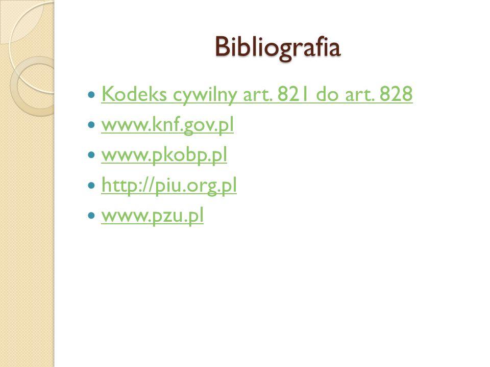 Bibliografia Kodeks cywilny art. 821 do art. 828 www.knf.gov.pl www.pkobp.pl http://piu.org.pl www.pzu.pl