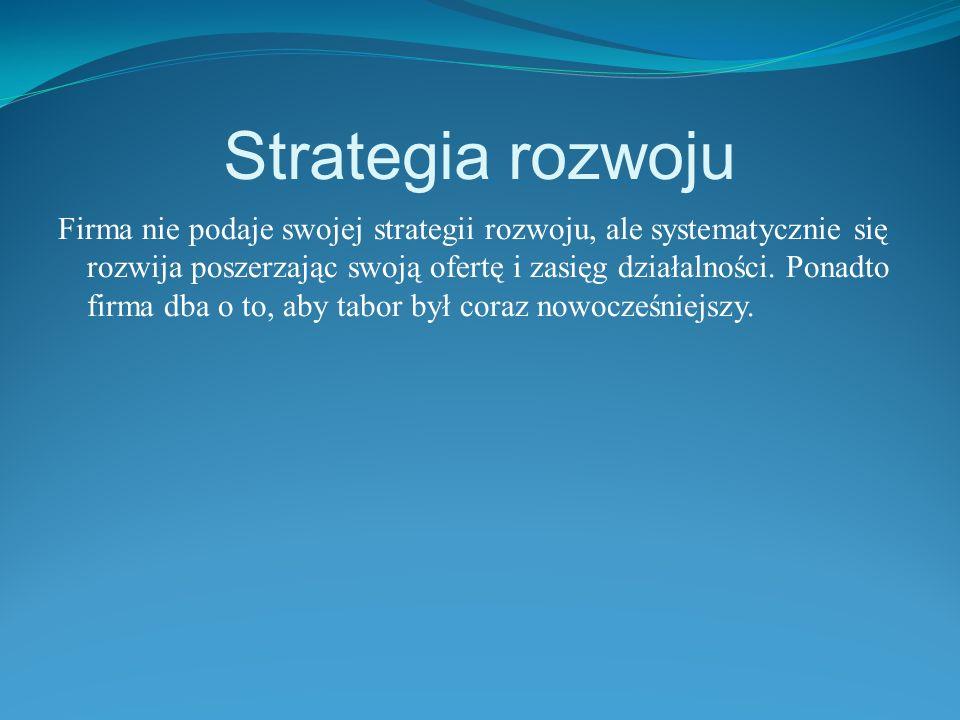 Strategia rozwoju Firma nie podaje swojej strategii rozwoju, ale systematycznie się rozwija poszerzając swoją ofertę i zasięg działalności.