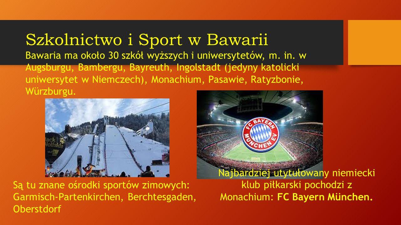 Mieszkańcy: ponad 12 mln Stolica: Monachium (München) Przemysł: elektroniczny, maszynowy, lotniczy, włókienniczy, rafineryjny Firmy: Bayerische Motoren Werke (Bawarska Fabryka Silników - samochody BMW), Siemens, Audi, MAN, MTU Są tu: 3 elektrownie atomowe: Isar 1 i Isar 2, Grafenrheinfeld, Gundremmingen; Bawaria (Freistaat Bayern)