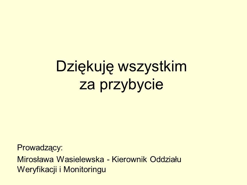 Dziękuję wszystkim za przybycie Prowadzący: Mirosława Wasielewska - Kierownik Oddziału Weryfikacji i Monitoringu