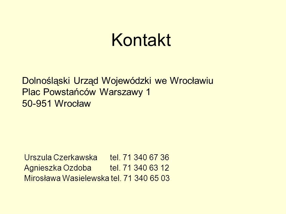 Kontakt Urszula Czerkawska tel. 71 340 67 36 Agnieszka Ozdoba tel.