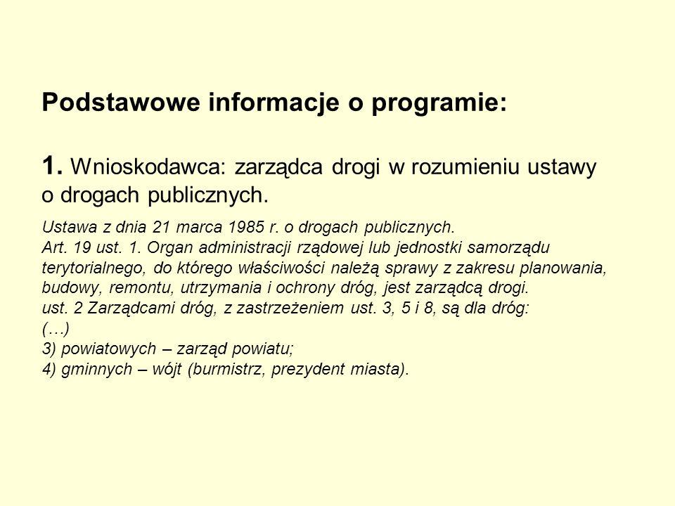 Podstawowe informacje o programie: 1. Wnioskodawca: zarządca drogi w rozumieniu ustawy o drogach publicznych. Ustawa z dnia 21 marca 1985 r. o drogach