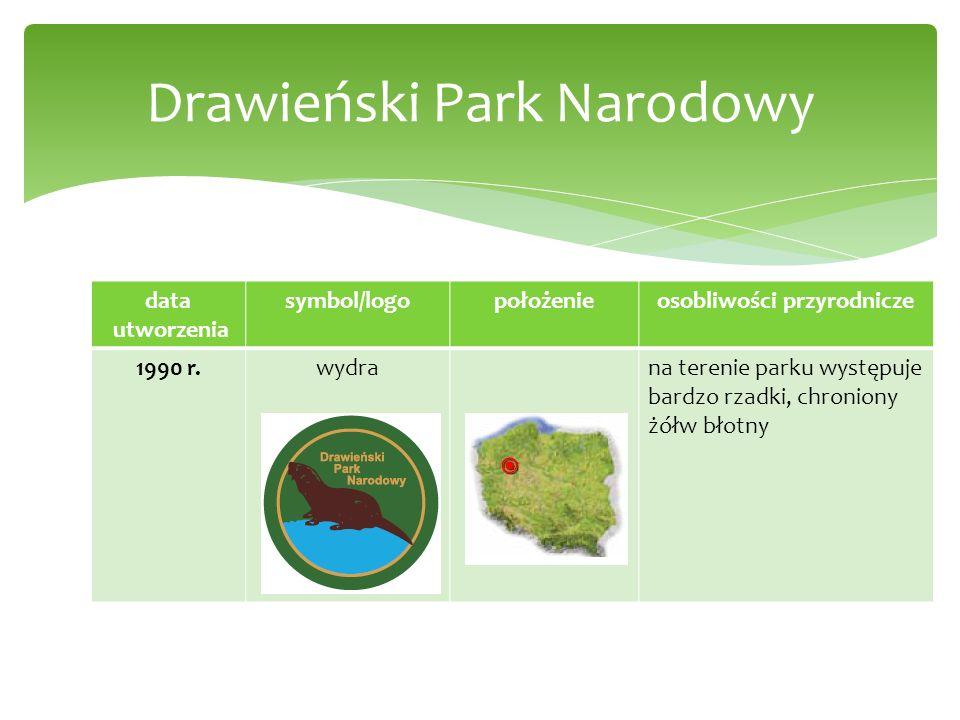 data utworzenia symbol/logopołożenieosobliwości przyrodnicze 1990 r.wydrana terenie parku występuje bardzo rzadki, chroniony żółw błotny Drawieński Pa