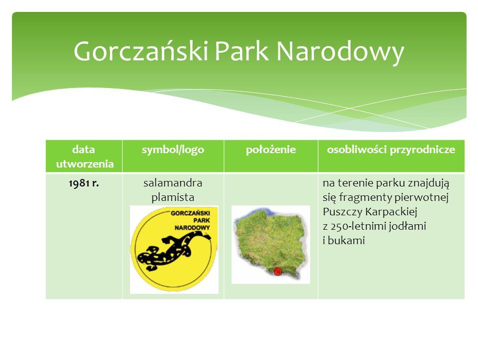 data utworzenia symbol/logopołożenieosobliwości przyrodnicze 1981 r.salamandra plamista na terenie parku znajdują się fragmenty pierwotnej Puszczy Kar