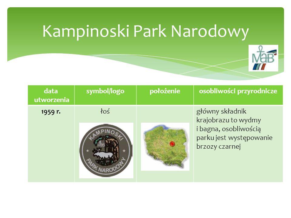 data utworzenia symbol/logopołożenieosobliwości przyrodnicze 1959 r.łośgłówny składnik krajobrazu to wydmy i bagna, osobliwością parku jest występowan