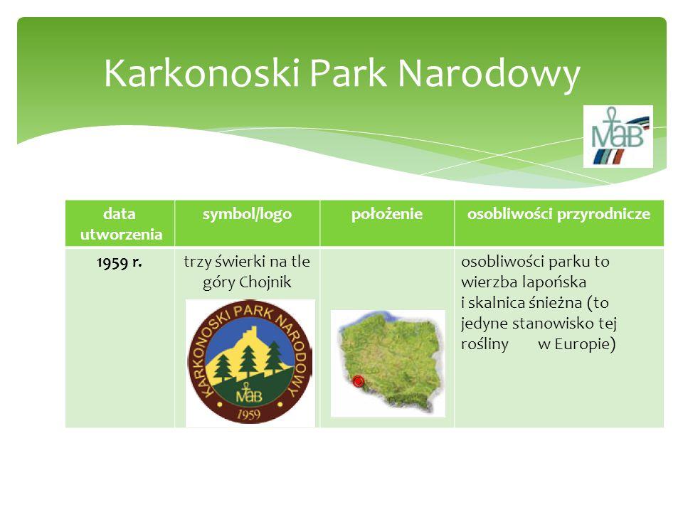 data utworzenia symbol/logopołożenieosobliwości przyrodnicze 1959 r.trzy świerki na tle góry Chojnik osobliwości parku to wierzba lapońska i skalnica
