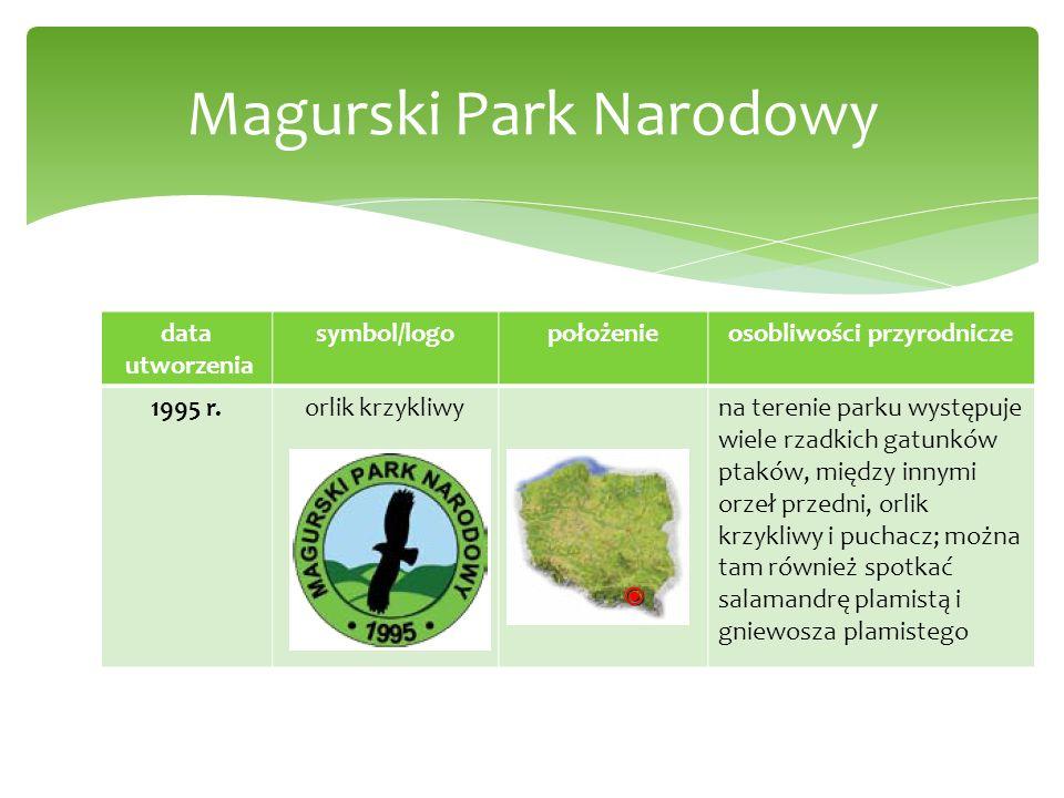 data utworzenia symbol/logopołożenieosobliwości przyrodnicze 1995 r.orlik krzykliwyna terenie parku występuje wiele rzadkich gatunków ptaków, między i