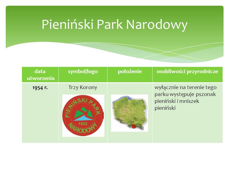 data utworzenia symbol/logopołożenieosobliwości przyrodnicze 1954 r.Trzy Koronywyłącznie na terenie tego parku występuje pszonak pieniński i mniszek p