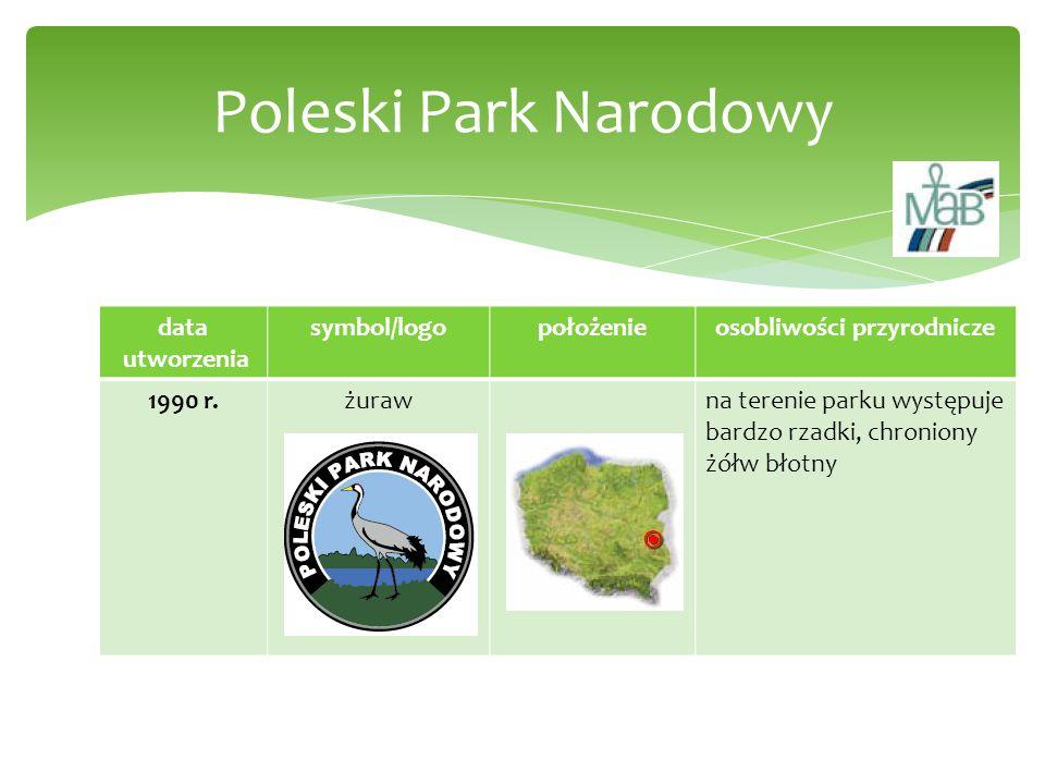 data utworzenia symbol/logopołożenieosobliwości przyrodnicze 1990 r.żurawna terenie parku występuje bardzo rzadki, chroniony żółw błotny Poleski Park