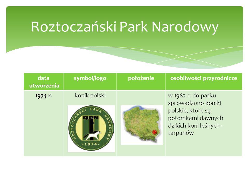 data utworzenia symbol/logopołożenieosobliwości przyrodnicze 1974 r.konik polskiw 1982 r. do parku sprowadzono koniki polskie, które są potomkami dawn