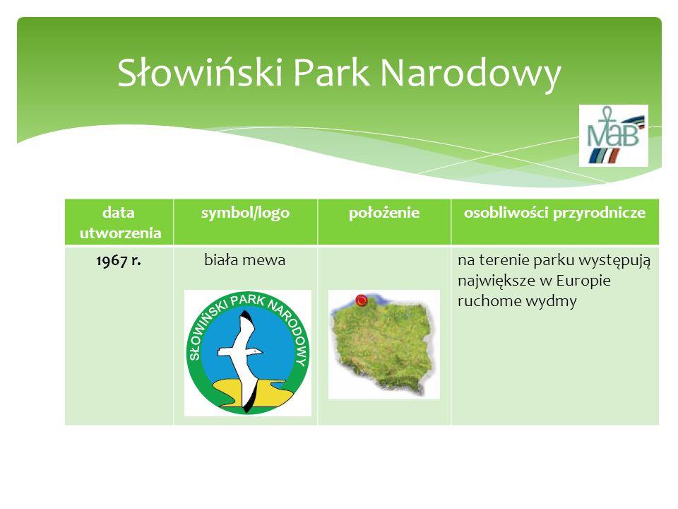 data utworzenia symbol/logopołożenieosobliwości przyrodnicze 1967 r.biała mewana terenie parku występują największe w Europie ruchome wydmy Słowiński