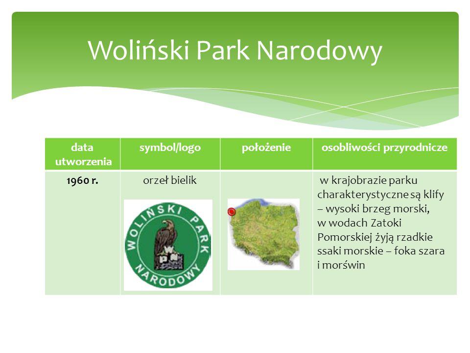 data utworzenia symbol/logopołożenieosobliwości przyrodnicze 1960 r.orzeł bielik w krajobrazie parku charakterystyczne są klify – wysoki brzeg morski,