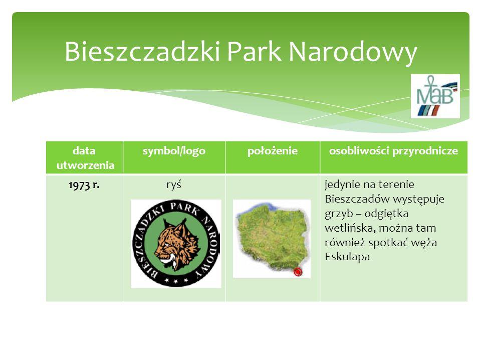 data utworzenia symbol/logopołożenieosobliwości przyrodnicze 1973 r.ryśjedynie na terenie Bieszczadów występuje grzyb – odgiętka wetlińska, można tam