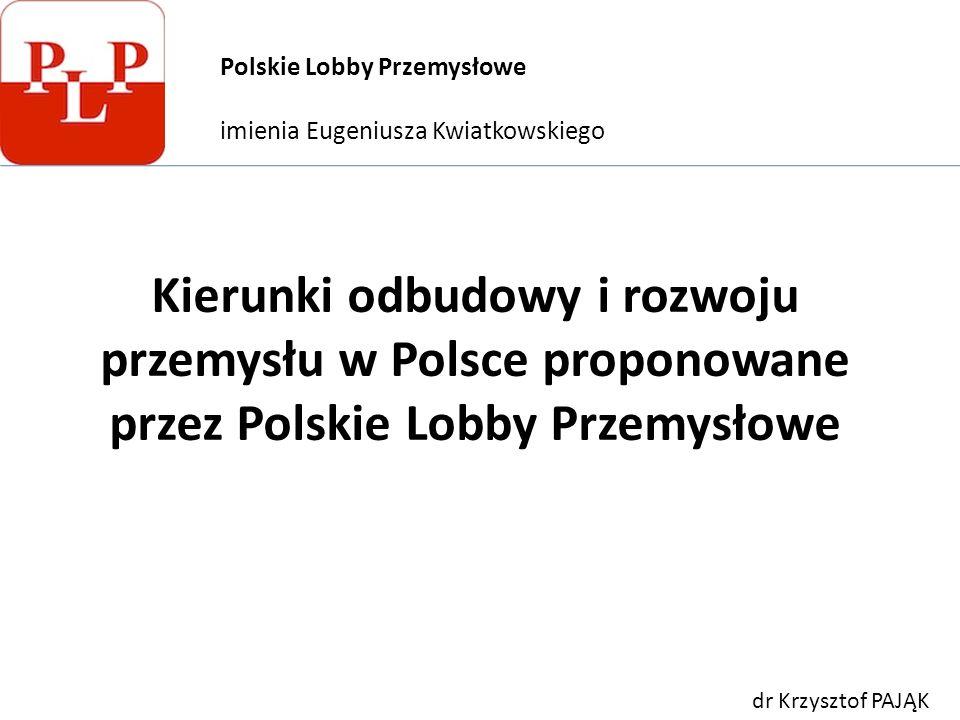 Kierunki odbudowy i rozwoju przemysłu w Polsce proponowane przez Polskie Lobby Przemysłowe Polskie Lobby Przemysłowe imienia Eugeniusza Kwiatkowskiego dr Krzysztof PAJĄK