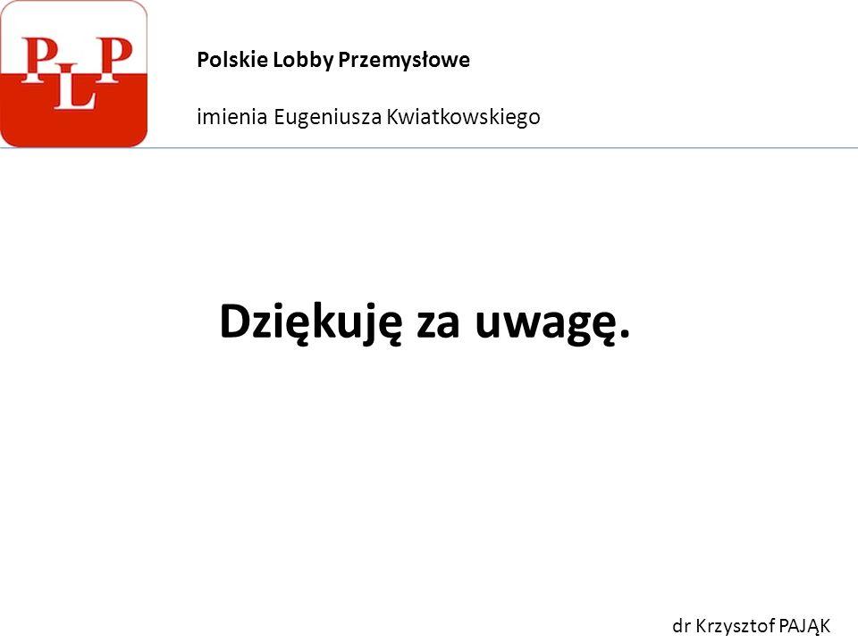 Dziękuję za uwagę. Polskie Lobby Przemysłowe imienia Eugeniusza Kwiatkowskiego dr Krzysztof PAJĄK