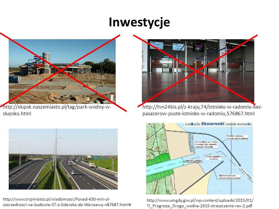 Inwestycje http://slupsk.naszemiasto.pl/tag/park-wodny-w- slupsku.html http://tvn24bis.pl/z-kraju,74/lotnisko-w-radomiu-bez- pasazerow-puste-lotnisko-w-radomiu,576867.html http://www.trojmiasto.pl/wiadomosci/Ponad-430-mln-zl- oszczednosci-na-budowie-S7-z-Gdanska-do-Warszawy-n87687.html# http://www.umgdy.gov.pl/wp-content/uploads/2015/01/ TI_Prognoza_Droga_wodna-2015-streszczenie-rev-2.pdf