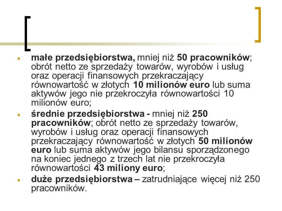  małe przedsiębiorstwa, mniej niż 50 pracowników; obrót netto ze sprzedaży towarów, wyrobów i usług oraz operacji finansowych przekraczający równowartość w złotych 10 milionów euro lub suma aktywów jego nie przekroczyła równowartości 10 milionów euro;  średnie przedsiębiorstwa - mniej niż 250 pracowników; obrót netto ze sprzedaży towarów, wyrobów i usług oraz operacji finansowych przekraczający równowartość w złotych 50 milionów euro lub suma aktywów jego bilansu sporządzonego na koniec jednego z trzech lat nie przekroczyła równowartości 43 miliony euro;  duże przedsiębiorstwa – zatrudniające więcej niż 250 pracowników.