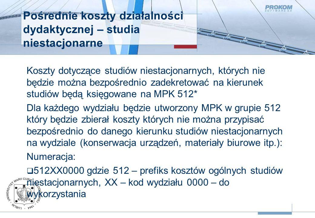 Pośrednie koszty działalności dydaktycznej – studia niestacjonarne Koszty dotyczące studiów niestacjonarnych, których nie będzie można bezpośrednio zadekretować na kierunek studiów będą księgowane na MPK 512* Dla każdego wydziału będzie utworzony MPK w grupie 512 który będzie zbierał koszty których nie można przypisać bezpośrednio do danego kierunku studiów niestacjonarnych na wydziale (konserwacja urządzeń, materiały biurowe itp.): Numeracja:  512XX0000 gdzie 512 – prefiks kosztów ogólnych studiów niestacjonarnych, XX – kod wydziału 0000 – do wykorzystania