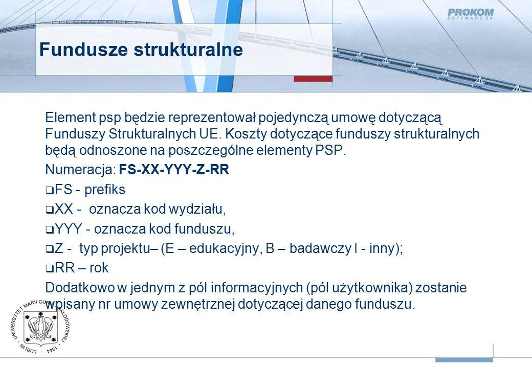 Fundusze strukturalne Element psp będzie reprezentował pojedynczą umowę dotyczącą Funduszy Strukturalnych UE.