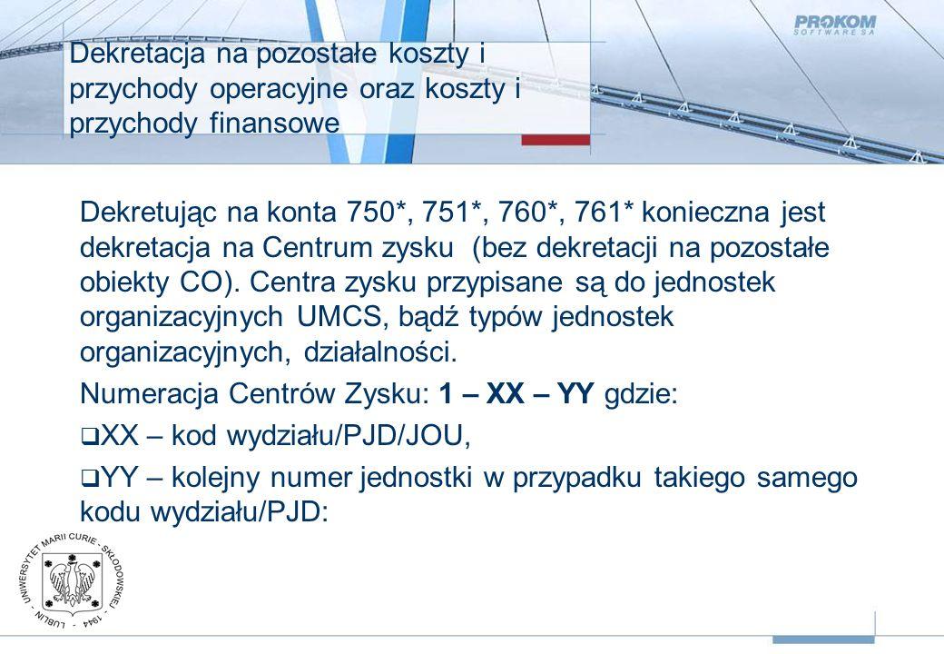 Dekretacja na pozostałe koszty i przychody operacyjne oraz koszty i przychody finansowe Dekretując na konta 750*, 751*, 760*, 761* konieczna jest dekretacja na Centrum zysku (bez dekretacji na pozostałe obiekty CO).