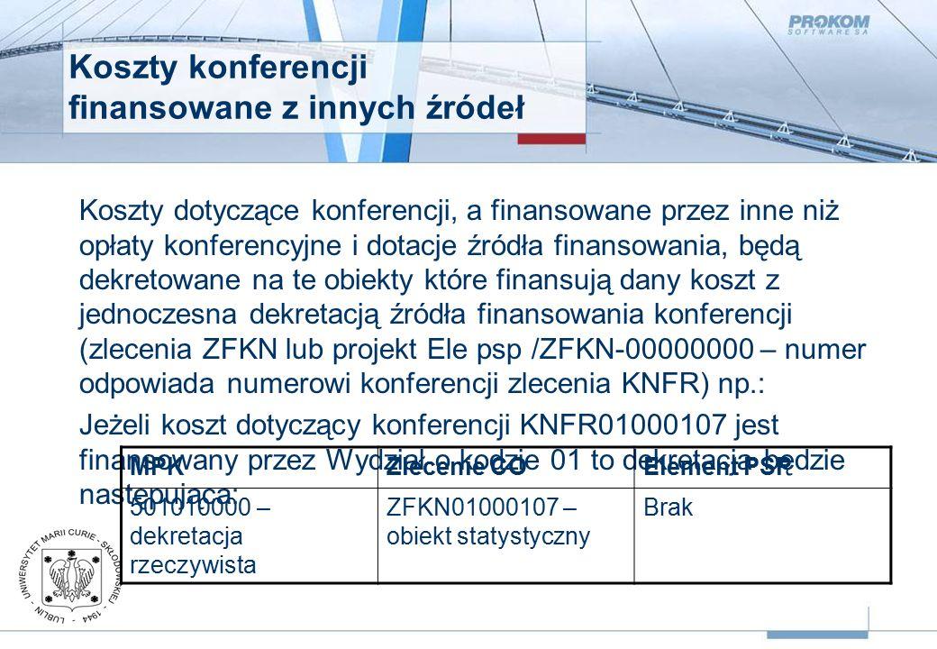 Koszty konferencji finansowane z innych źródeł Koszty dotyczące konferencji, a finansowane przez inne niż opłaty konferencyjne i dotacje źródła finansowania, będą dekretowane na te obiekty które finansują dany koszt z jednoczesna dekretacją źródła finansowania konferencji (zlecenia ZFKN lub projekt Ele psp /ZFKN-00000000 – numer odpowiada numerowi konferencji zlecenia KNFR) np.: Jeżeli koszt dotyczący konferencji KNFR01000107 jest finansowany przez Wydział o kodzie 01 to dekretacja będzie następująca: MPKZlecenie COElement PSP 501010000 – dekretacja rzeczywista ZFKN01000107 – obiekt statystyczny Brak