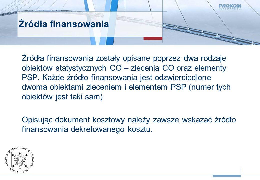 Źródła finansowania Źródła finansowania zostały opisane poprzez dwa rodzaje obiektów statystycznych CO – zlecenia CO oraz elementy PSP.