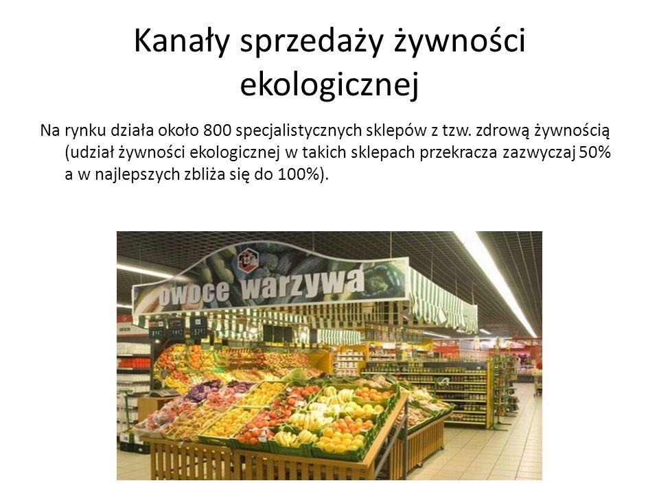 Kanały sprzedaży żywności ekologicznej Na rynku działa około 800 specjalistycznych sklepów z tzw.