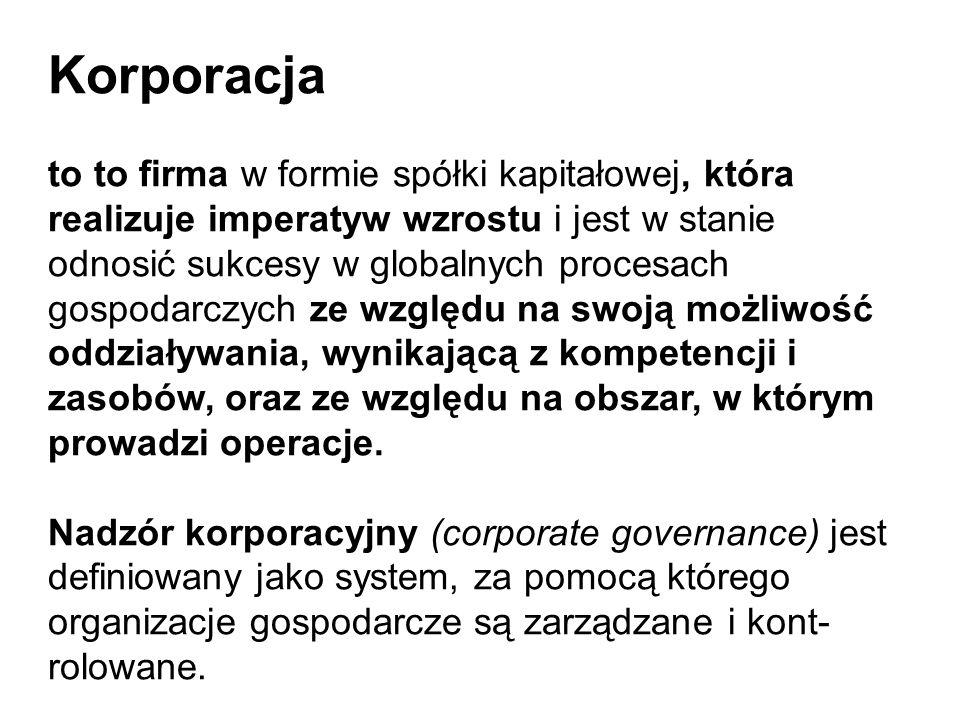 Korporacja to to firma w formie spółki kapitałowej, która realizuje imperatyw wzrostu i jest w stanie odnosić sukcesy w globalnych procesach gospodarczych ze względu na swoją możliwość oddziaływania, wynikającą z kompetencji i zasobów, oraz ze względu na obszar, w którym prowadzi operacje.