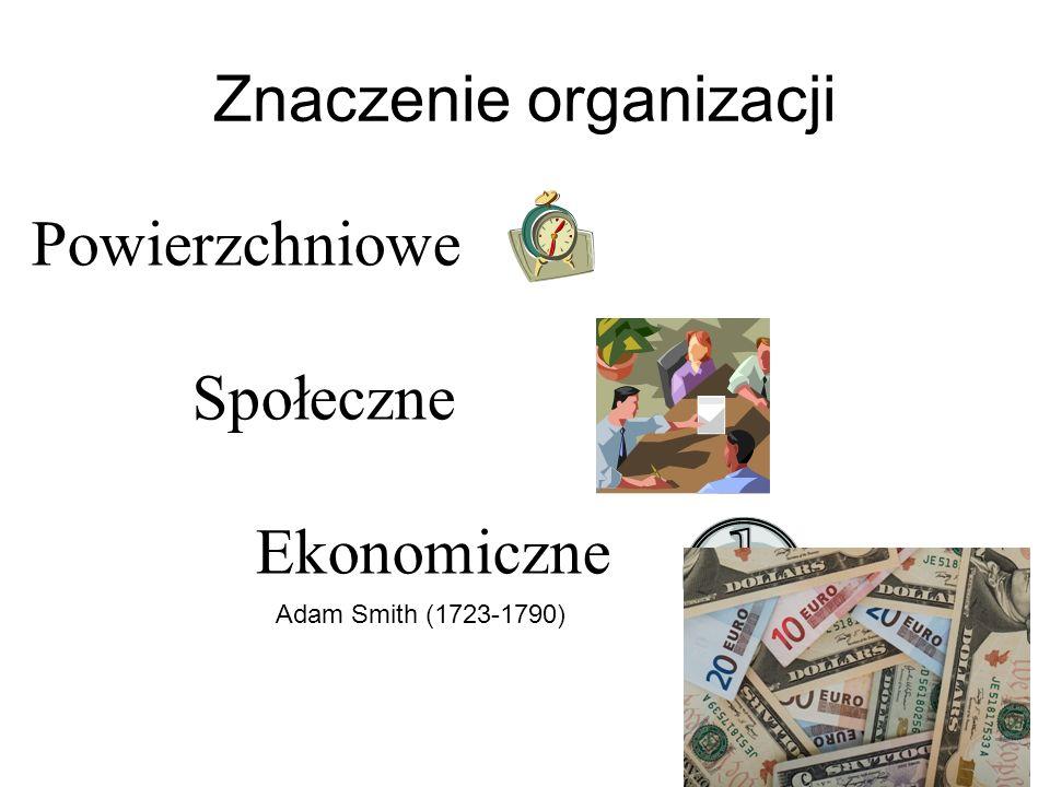 Powierzchniowe Społeczne Ekonomiczne Znaczenie organizacji Adam Smith (1723-1790)