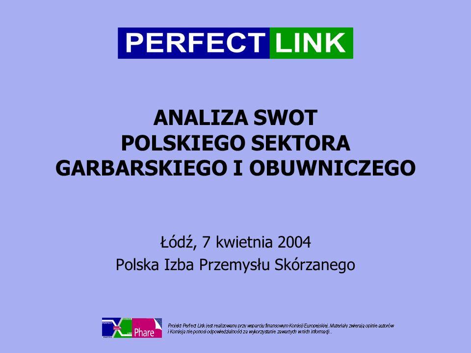 ANALIZA SWOT POLSKIEGO SEKTORA GARBARSKIEGO I OBUWNICZEGO Łódź, 7 kwietnia 2004 Polska Izba Przemysłu Skórzanego