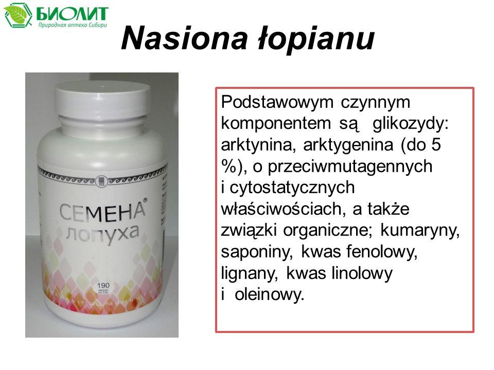 Nasiona łopianu Podstawowym czynnym komponentem są glikozydy: arktynina, аrktygenina (dо 5 %), o przeciwmutagennych i cytostatycznych właściwościach, a także związki organiczne; kumaryny, saponiny, kwas fenolowy, lignany, kwas linolowy i oleinowy.