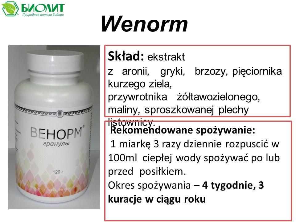 Wenorm Skład: ekstrakt z aronii, gryki, brzozy, pięciornika kurzego ziela, przywrotnika żółtawozielonego, maliny, sproszkowanej plechy listownicy.