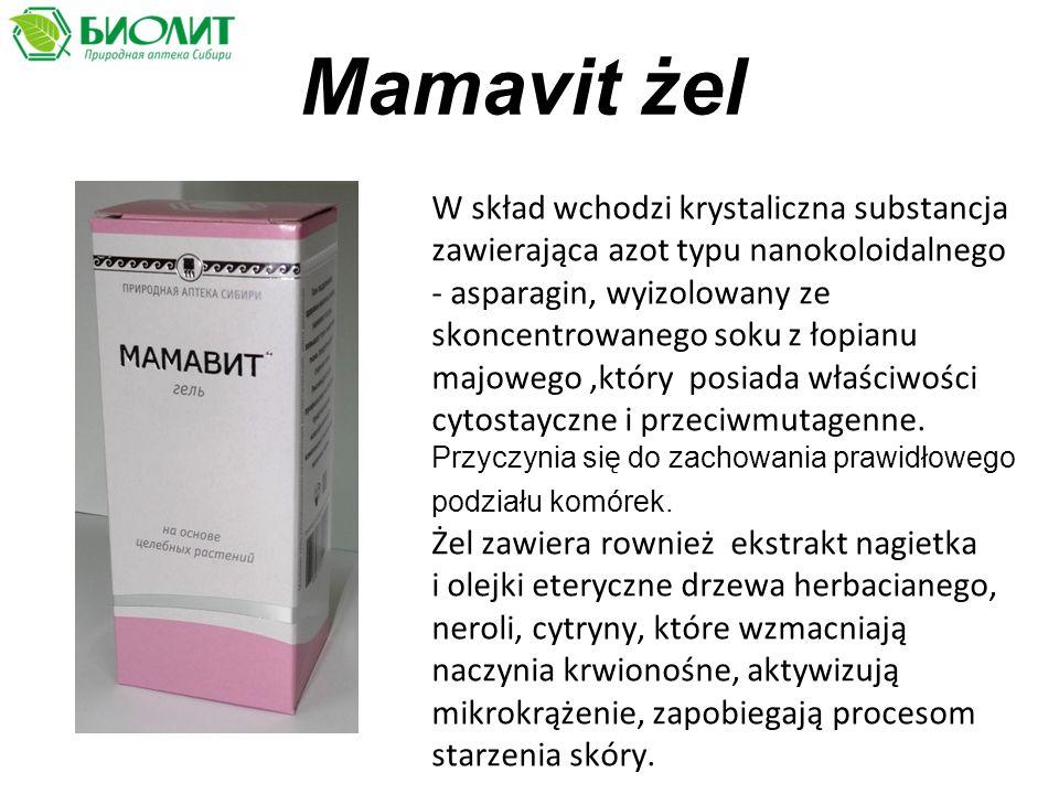 Mamavit żel W skład wchodzi krystaliczna substancja zawierająca azot typu nanokoloidalnego - аsparagin, wyizolowany ze skoncentrowanego soku z łopianu majowego,który posiada właściwości cytostayczne i przeciwmutagenne.
