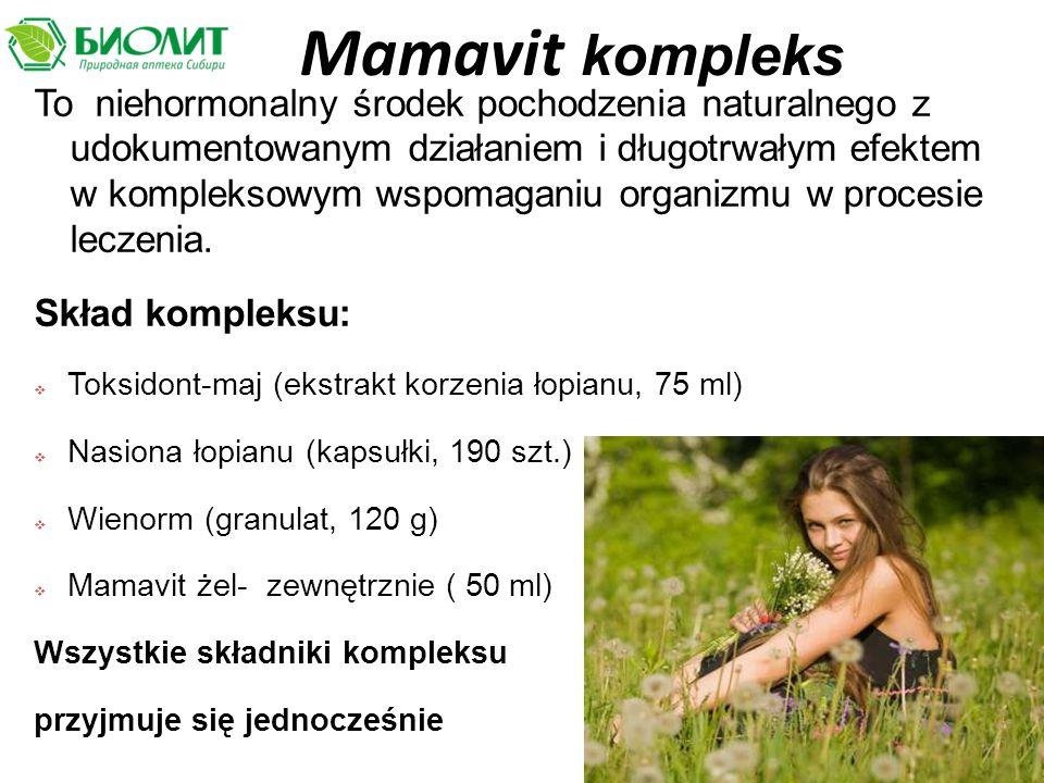 Mamavit kompleks To niehormonalny środek pochodzenia naturalnego z udokumentowanym działaniem i długotrwałym efektem w kompleksowym wspomaganiu organizmu w procesie leczenia.