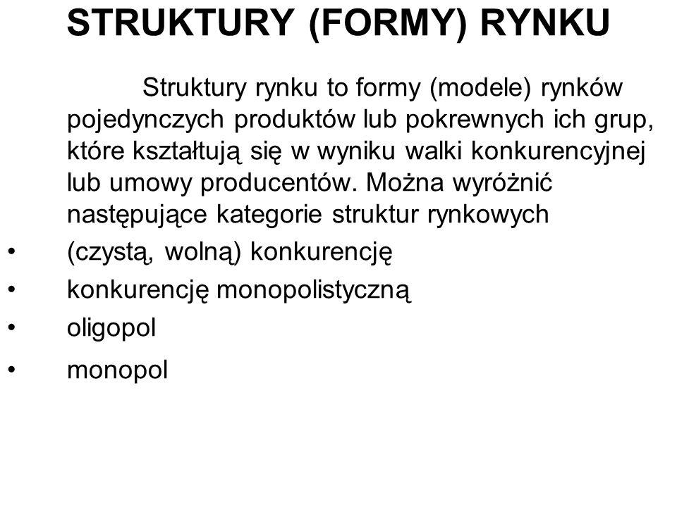STRUKTURY (FORMY) RYNKU Struktury rynku to formy (modele) rynków pojedynczych produktów lub pokrewnych ich grup, które kształtują się w wyniku walki k